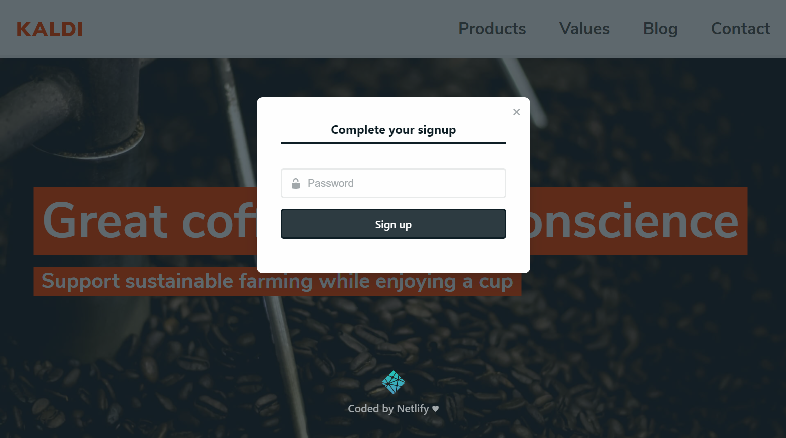 """Complete your signup"" modal on the Kaldi coffee site"
